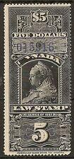 CANADA SUPREME COURT LAW REVENUE 1897 WIDOW  $5 BLACK WITH PURPLE CONTROL