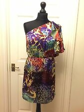 Apricot Multicoloured Animal Print One Shoulder Ruffled Dress Size S