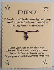 Christmas Stocking Filler Birthday Gift Friend Diamonds Wish String Bracelet