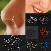 40Pc Simple Surgical Steel Non-Piercing Nose Lip Hoop Ring Stud Piercing Jewelry
