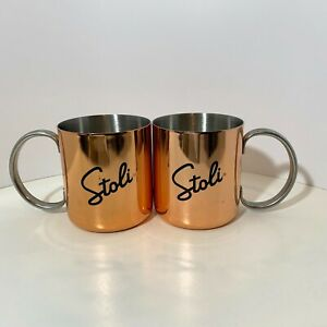 Stoli Stolichnaya Vodka promotional Moscow Mule pair x2 cups mugs steel cocktail