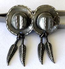 2 Dangl Feather Ladies Earrings Southwestern Sterling Silver 925 Cowboy Cowgirl