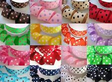 "5 yards Yellow/White Grosgrain 1.5"" Wide Polka Dot Ribbon/polyester/craft R20-i"