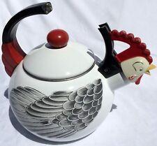 Vintage M Kamenstein Rooster Whistling Tea Pot 1986 Farm House Enamel Kettle
