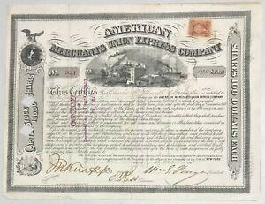 1868 AMERICAN MERCHANTS UNION EXPRESS COMPANY Stock WILLIAM FARGO Signature