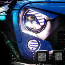 Extrame Skull BLUE LED Headlight+LED Turn Signal+DRL for 07-18 Jeep JK Wrangler