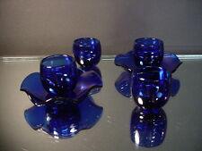1920's Peking Glass 4 Cobalt Blue Saki Cups & 2 Cobalt Blue Under plates China