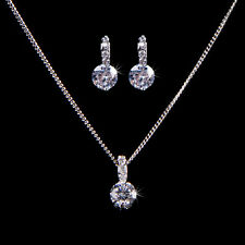 White Gold Plated Clear Crystal Pendant Necklace  Earrings Jewelry Set Gift UK