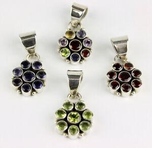 Garnet, Iolite, Peridot, Multi Color Pendant Real Gems 925 Silver Round