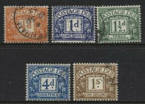 1951-2 ½d-1/- KGVI WMK POSTAGE DUE VERY FINE USED SET OF FIVE. D35-39