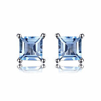 Hot 4mm Genuine Sky Blue Topaz and Sterling Silver Stud Fashion Earrings Lovely
