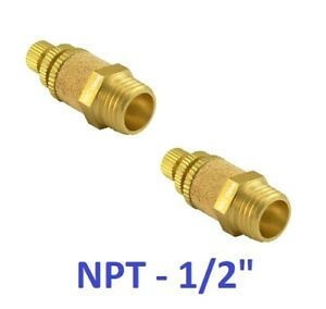 """Brass Flow Control Silencer 1/2"""" NPT Pneumatic Air Exhaust Muffler 2 Pieces"""
