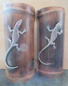 Bamboo & Silver Tone Lizard / Gecko Bookends Book Ends / Ornament *Please Read*