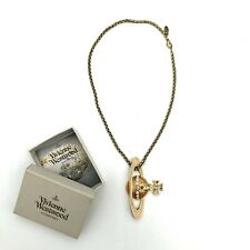 Vivienne Westwood Large Orb Necklace Choker Pendant Gold Rhinestone Authentic