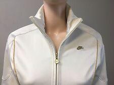 NIKE Women's Athleisure Jacket-White w/ Gold Trim-Soft Poly Cotton
