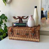 Vintage Woven Wicker Rattan Picnic Basket, Suitcase Style Storage Kitchen Decor