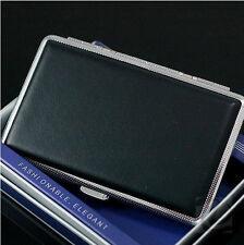 Blcak Leather Slim Cigarette Case Box 100's Hold For 14 100mm Cigarettes 308Bb