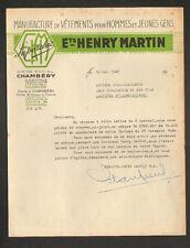"""CHAMBERY (73) USINE de VETEMENTS pour HOMMES / MODE """"Ets. HENRY MARTIN"""" en 1945"""