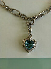 JUDITH RIPKA 7 CARAT BLUE TOPAZ HEART ENHANCER STERLING SILVER CHAIN NECKLACE