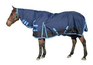 Quality Fitted Nylon Waterproof Turnout Horse Rug in 2 Tone Blue with Neck