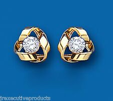 Knot Earrings Knot Studs Cubic Zirconia Knot Stud Yellow Gold Knot earrings 8mm