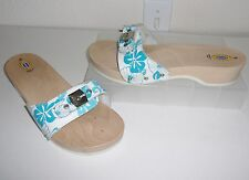 Dr Scholl's Made in Italy Blue White Flower Wooden Original Sandals Size 9 Shoes
