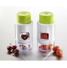 Erdbeerschneider & Kirschentkerner 2in1 mit praktischer Auffangschale Entkerner