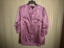 women's dana buchman blouse shirt top size m pink 3/4 sleeve