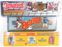 Lot of 3 1990 1991 Donruss Score Baseball Complete Factory Card Sets 90 91
