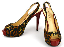 Guess Rojo Estampado Leopardo Punta Abierta Tacón de Aguja Plataformas ~ Mujer