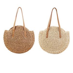1X(Round Straw Beach Bag Vintage Handmade Woven Shoulder Bag Raffia Circle