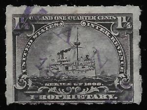 VanS HAND STAMP CANCEL on 1 1/4c RB25 1898 Proprietary Battleship Revenue Stamp