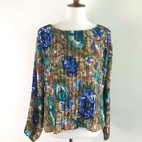 RD & Koko Floral Print Ribbed Blouse Top Women's Size Large Long Sleeve Layered