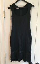 Stunning Auth Bluemarine Black Silk Ruffle Bottom Dress IT 38 US S Made In Italy