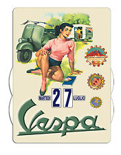 Calendrier  perpétuel  VESPA Pin up au camping Version italienne