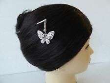 Japanese Kanzashi Hair Stick Silver-tone w/Butterfly Design Hair Ornament