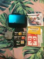Nintendo 3ds Aqua Blue With Mariokart 7 And 8 Ds Games Bundle, Manual & AR Cards