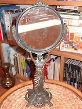 ancien mirroir de table en régule art nouveau femme