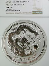2012 1-KILO SILVER LUNAR YEAR OF THE DRAGON MS70 NGC - AUSTRALIA - PERTH MINT