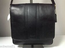Coach Men's Heritage Map Bombe Leather Black Crossbody Messenger Bag F71641