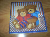 3 Servietten 33 x 33 cm Bären - neu