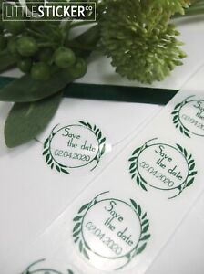 Clear round Stickers 50 personalised wedding stickers clear labels 25mm small