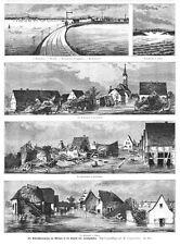 Ludwigshafen, Oppau, Friesenheim, Maudach, Überschwemmung Holzstich von 1883