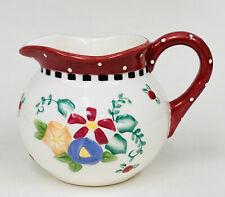 Vintage Mary Engelbreit 1999 Polka Dot Trim Floral Creamer