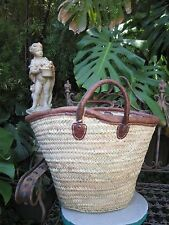 'French' Market Basket Hand Made in Morocco Large  Soft leather handles & trim