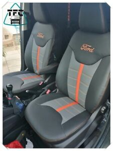 FORD TRANSIT COURIER SEAT COVERS ECO LEATHER HORIZONTAL STITCH & LOGO SEATS 1+1