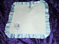 Gerber White Blue Puppy Dog Bone Baby Security Blanket Lovey Satin Lil Clutch