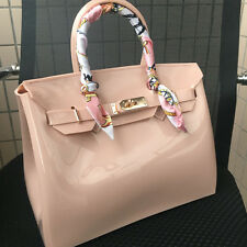 Apricot ! Women  Metal Buckle Candy Color PVC Jelly Handbag Plastic Tote Bag