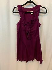 DKNY Purple Silver Sparkly Shimmer Ruffle Sleeveless Short Mini Dress Medium