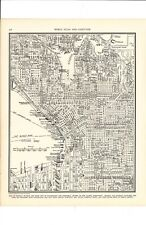 1947 Vintage CENTRAL SEATTLE Map ready to frame for art & Elliot Bay